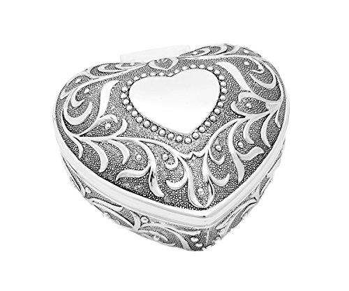 Brillibrum design sieradendoos in hartvorm antiek zilver kistje sieradendoos verzilverd hart gravure ringetui