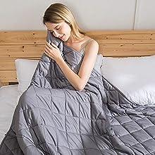 jaymag Manta con Peso para Adultos 150x200cm 11kg Anti-ansiedad Sensorial Calmante para un Mejor sueño y Alivio del estrés 100% algodón con Cuentas de Cristal