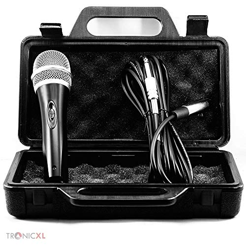 TronicXL Microfoonset, dynamisch, met koffer, 5 meter lange kabel, stekker, 6,35 mm, universele handmicrofoon, microfoon, zingen, moderatie, toneel, karaoke, bruiloft, zangmicrofoon, bekabeld
