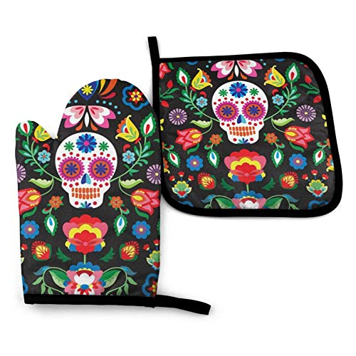 Sugar Cute Skull Oven Mitts and Pot Holders Sets Heat Resistance Waterproof Gloves for Kitchen Cooking Baking BBQ
