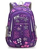 MITOWERMI Girls Flower Printed Primary Junior High University School Bag Bookbag Elementary Backpack(Purple)