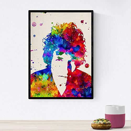 Nacnic Poster imagen de Bob dylan. Posters con diseño acuarela de famosos, actores, músicos, y personajes conocidos. Tamaño A4