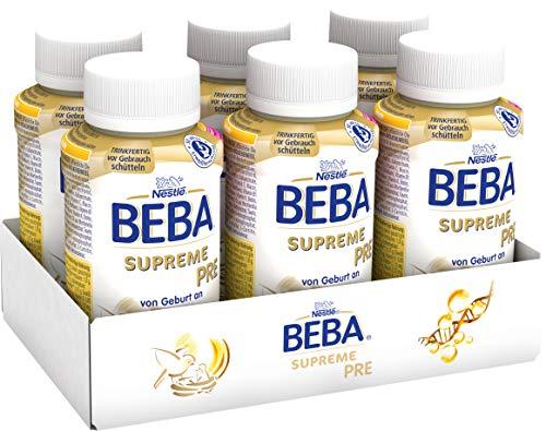Nestlé BEBA SUPREME PRE Anfangsmilch,  trinkfertige Portionsflaschen, hypo-allergene Säuglingsnahrung, mit Omega 3, 6er Pack (6 x 200ml)
