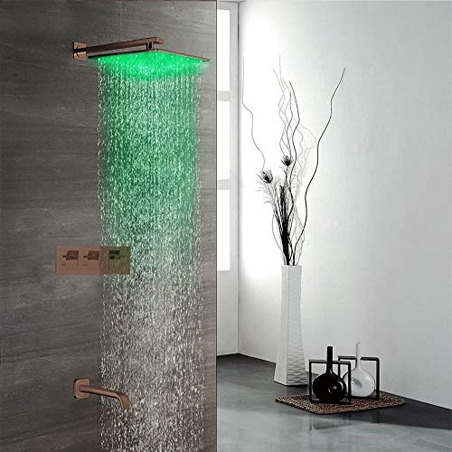 Fantastic Prices! Fontana Shower Reno Wall Mount LED Rainfall Shower - FS9869 Square Luxurious Oil R...