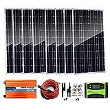 AUECOOR 800 Watt (8 x 100 Watt) Monocrystalline Solar Panel Kit with 3000W Power Inverter (Peak 6000W) for RV, Boat, Off-Grid...