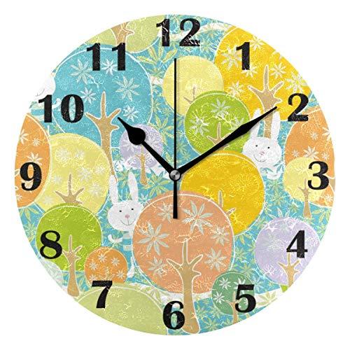Jacque Dusk Reloj de Pared Moderno,Feliz día de Pascua, Conejito, Navidad, Bosque floreciente,Grandes Decorativos Silencioso Reloj de Cuarzo de Redondo No-Ticking para Sala de Estar,25cm diámetro