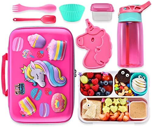 Unicorn Lunch Bag Lunch Box Set Include 3D Insulated Cooler Bag Leakproof Water Bottle Unicorn product image