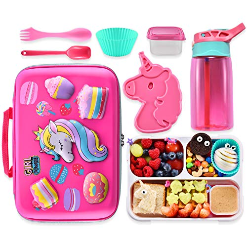Unicorn Lunch Bag Lunch Box Set, Include 3D Insulated Cooler Bag & Leakproof Water Bottle Unicorn Ice Pack Multipurpose Spork Spoon Silicone Cups Salad Box, Great for School Girls or Boys (Pink-2)
