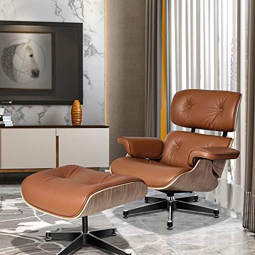 SIRUITON Sillón reclinable de piel con otomana, 8 capas de madera de nogal de mediados de siglo con piel auténtica y base de aluminio resistente, moderno chaise para dormitorio, sala de estar, oficina