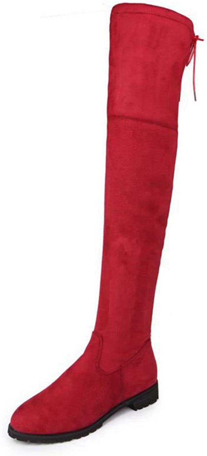 Saborz Flat Stretch Round Toe Thigh High Boots Over The Knee Boots
