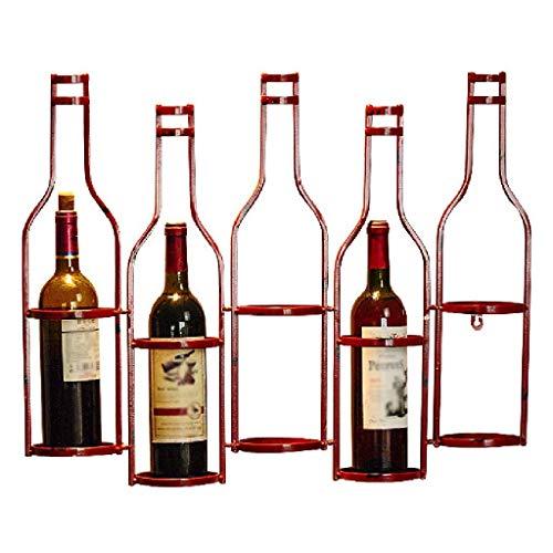 FHKBK Estante de Vino de Metal montado en la Pared Soporte para Botella Colgante 5 Botellas Soporte para Botella de Vino Soporte Decorativo para Botella de Vino para el hogar (Rojo)