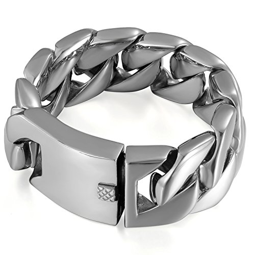 JewelryWe Schmuck Biker Herren Armband, 30mm Breit Edelstahl Klassische Hochglanz Poliert Panzerkette Armreif Armkette Silber