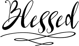 Blessed Wall Sticker | Home Decor Wall Decal | Large (21 x 13 inches) Inspirational Wall Quote Letters | Vinyl Wall Decals for Home or Office Decoration | Great for Living Room or Kitchen (Black)
