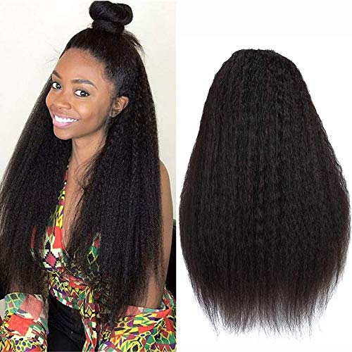 NIUDINNG Tissage BréSilien Perruque Femme Naturelle Yaki Perruque Courte Bresilienne Yaki Straight Virgin Human Hair Wigs For Black Women Human Hair 13x4 Lace Front Wig 10 Pouce