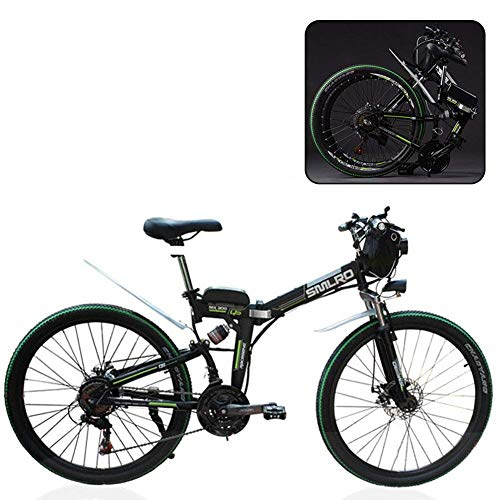 Mnjin Mountain Bike elettrica, Bicicletta elettrica Pieghevole, Mountain Bike elettrica Pieghevole per Batteria al Litio, Bicicletta elettrica Pieghevole per Viaggi in Montagna per Adulti
