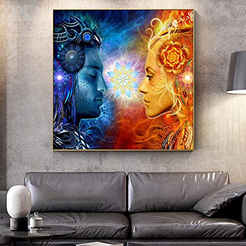 Tantric Shiva and wall art canvas painting on the wall Hindu god Pop art poster painting on the wall picture for the living room 60x60cm