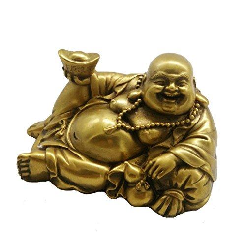Statue de Bouddha Couché en Laiton Home Decor Cadeau Faite à la Main Fengshui