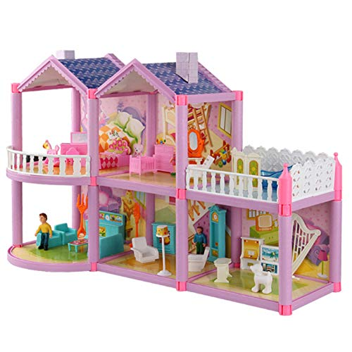 kangOnline Casa de muñecas de juguete casa familiar con muebles, accesorios de juego cabaña Uptown casa de muñecas sueño casa de muñecas casa de juego para niñas regalos para el hogar