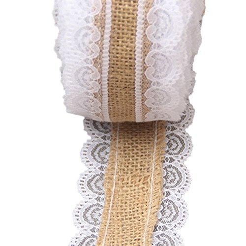 1 Rouleau Bande Ruban en Dentelle Coton Blanc Vintage Floral pour Deco Mariage Artisanat Couture DIY AONER ✿ 20M*2CM Blanc