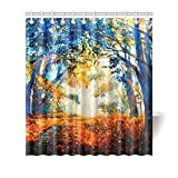 Cortina de baño Vintage Beautiful Autumn View in Forest Painting Decor Waterproof Polyester Fabric Shower Curtain Bathroom Sets with Rings, 66(Wide) x 72(Height) Inches