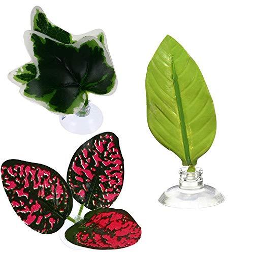 Youery 3 Piezas Planta Artificial Hoja Betta,Plantas de Acuario de plástico Hoja con Ventosa Cama de Hoja de pez Betta para Betta Habitat Brewing Descanso Decoración del Acuario