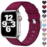 Ouwegaga Compatible con Apple Watch Correa 38mm 40mm 42mm 44mm, Correa de Tela Tejida Nylon de Repuesto Compatible con Apple Watch SE/iWatch Series 6 5 4 3 2 1, Fucsia 38mm/40mm