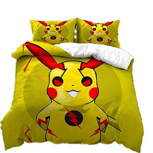 AmenSixye Juego de Cama Estampado de Dibujos Animados 3D Pokemon Pikachu edredn Cubierta de Cama Spead nio Chico Dormitorio Funda nrdica para Cama,140x210cm(2piezas)