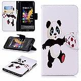 LEMORRY Funda para Huawei Honor 7X Cuero Funda Billetera Tapa Estuches Bolsa con Ranuras para Tarjetas Magnética Protector Stand Suave TPU Silicona Piel Cover para Huawei Honor 7X, Panda Fútbol