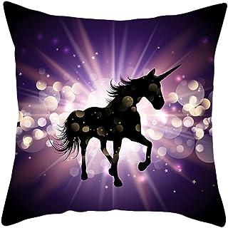Chytaii.Funda de cojín Moderno Throw Pillow Case 45x45cm Fundas de Almohada Unicornio Decoración del hogar para Sofá Escritorios Cafés Sillas Y Automóviles