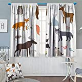 Cabin Decor Thermal/Room Darkening Window Curtains Cute Animals in Spring Meadow Childish Woodland Fauna Kids Baby Room Nursery Decor Curtains by 72'x63' Multicolor