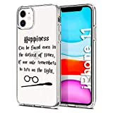 Litech Case for Apple iPhone 11 (2019) [Flexfit] Premium Clear Scratch-Resistant Cute Creative Artistic Design [Wireless Charging Compatible] (Happiness Quote)