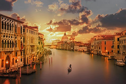 Gondola in the Grand Canal at Sunset Venice Italy Photo Art Print Poster 18x12