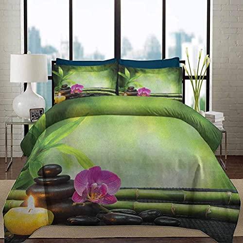 Juego de funda nórdica para ropa de cama Juego de funda nórdica para spa, orquídea impresa, tallos de bambú, piedras de chakra, alternativa japonesa con elementos de Feng Shui, juego de cama decorativ