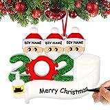 Airabc Decoraciones para árboles de Navidad, 2020 Personalizado Sobrevivió Familia Ornamento DIY Nombre bendición muñeco de Nieve de Resina para Navidad decoración, Familia de 3