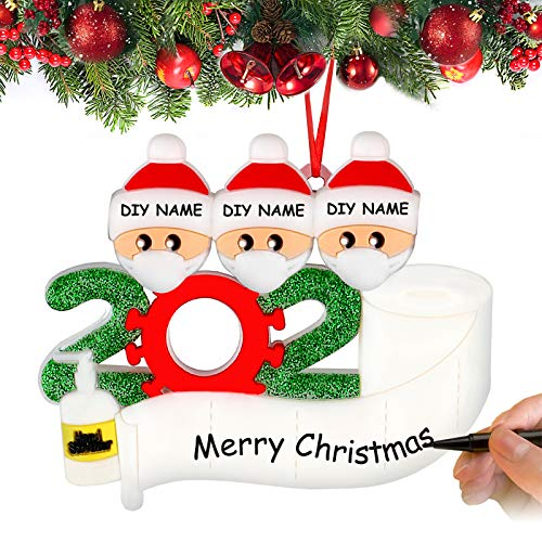 Airabc Christmas Tree Ornaments, 2020 Personalized Survived Family Ornament Holiday Hanging Pendants DIY Name Blessing Resin Snowman for Christmas Eve Home Party Decorations Xmas Gift (Family of 3)