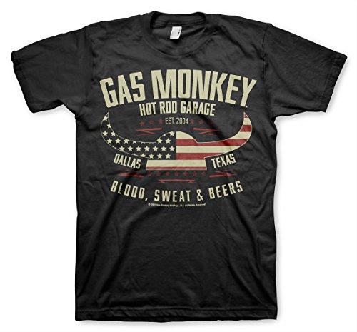Gas Monkey Garage Oficialmente Licenciado American Viking Hombre Camiseta (Negro), Small