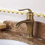 SKYEI Grifo antiguo grifo lavabo europeo retro baño gabinete agua caliente y fría grifo