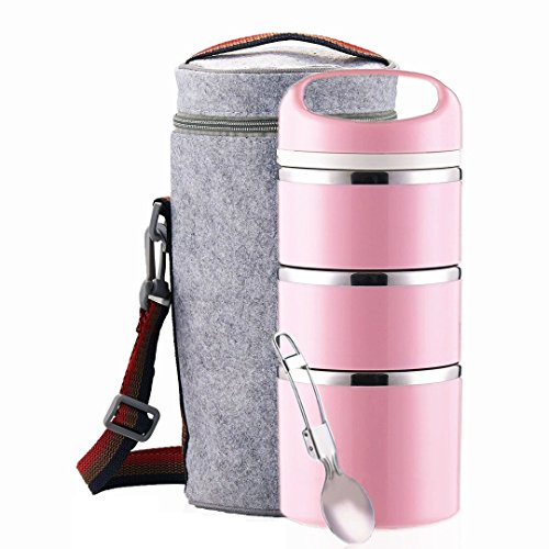 Lille Home Stackable Stainless Steel Thermal Compartment Lunch/Snack Box, 3-Tier Insulated Bento/Food Container with Lunch Bag & Foldable Spoon, Smart Diet, Weight Control, 43 OZ, Pink