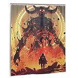 Gggo Duschvorhang, Ritter mit einem Schwert vor dem Lavadämon in der Hölle, digitaler Kunststil, Illustration Badvorhang Set mit Haken