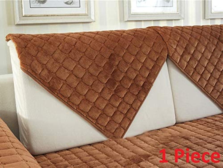 Thick Flannel Sofa Cushions Europe Modern Sofa Cover Fashion Plush Sofa Towel Solid Plaid Couch Covers Antiskid Soft funda Sofa   Coffee 1pcs, 90x90cm 1pc