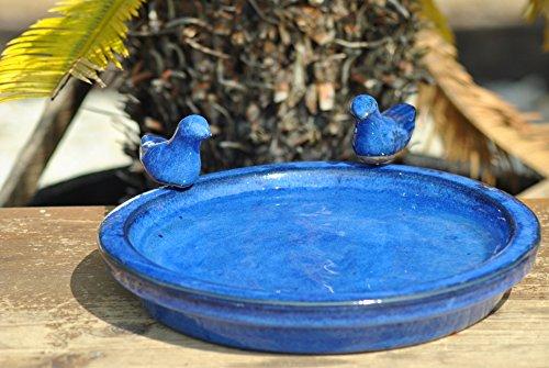 Vogeltränke mit zwei kleinen Vögelchen,rund,blau glasiert,30cm