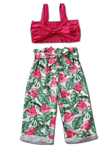 2Pcs Toddler Girl Wide Leg Pants Outfit Off Shoulder Vest Tops+Floral Pants Set (Watermelon Pants Outfit, 3-4T)