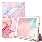 PIXIU Folio Case for iPad Mini 5th/4th Generation with Pencil Holder,Trifold Stand PU Lleather Smart Cover with Auto Wake/Sleep Feature for iPad Mini 4/5 7.9 inch Purple Marble