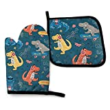 Kiuloam Cute T-Rex Dinosaur Oven Mitts and Pot Holders Set, Oven Gloves Heat Resistant for Baking Cooking Grilling BBQ (2-Piece Set)
