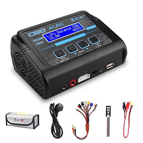 HTRC C150 LiPo ladegerät RC Ladegerät Entlader mit Balancer 150W 10A für LiPO Lilon Life LiHV NiMH NiCD PB Smart Akku, Eingebautes Netzteil und Lüfter