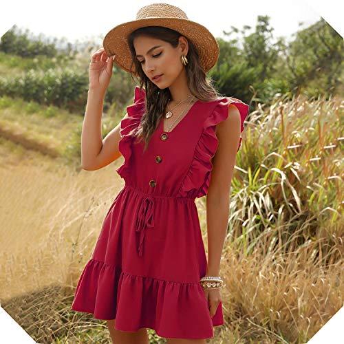 FightLY - Vestido de playa sin mangas para mujer, estilo casual, cuello en V, para fiesta, mini vestido de fiesta -  Rojo -  Large
