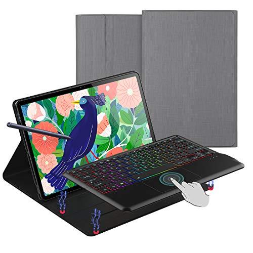 Tastatur Hülle für Samsung Galaxy Tab S7 Plus S7+ QWERTZ, Folio Hülle aus PU-Leder mit 7 Farben LED-Hintergrundbeleuchtung Tastatur für Samsung Galaxy Tab S7 Plus S7+ 12.4 Zoll 2020 (Grau)