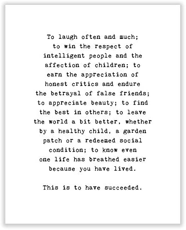 Art of Observation Emerson Success Quote Archival Print Black and White 8 inches x 10 inches product image