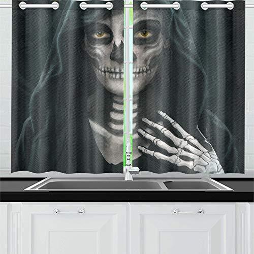 JIUCHUAN Concepto de Halloween Maquillaje Imagen de Las niñas Cortinas de la Cocina Cortinas de la Ventana Niveles para café, baño, lavandería, Sala de Estar Dormitorio 26 x 39 Pulgadas 2 Piezas