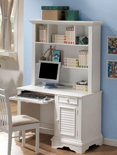 Computer Desk with Hutch Shutter Design in White Finish